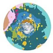 Mars North Polar Map Poster