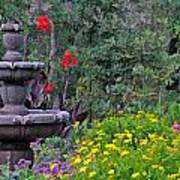 Garden Fountain And Flowers Poster
