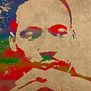 Martin Luther King Jr Watercolor Portrait On Worn Distressed Canvas Poster