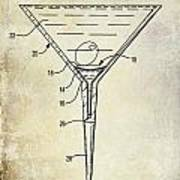 Martini Glass Patent Drawing Poster