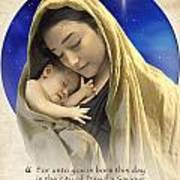 Mary And Baby Jesus Blue With Quote Poster by Ray Downing