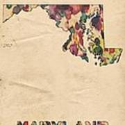 Maryland Map Vintage Watercolor Poster