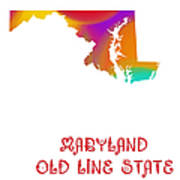 Maryland State Map Collection 2 Poster