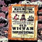 Mass Meeting At Tammany Hall Poster