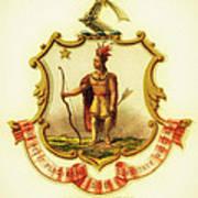 Massachusetts Coat Of Arms - 1876 Poster