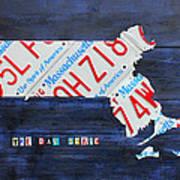 Massachusetts License Plate Map Poster