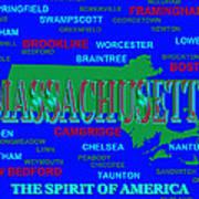 Massachusetts State Pride Map Silhouette  Poster