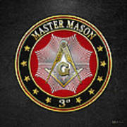 Master Mason - 3rd Degree Square And Compasses Jewel On Black Leather Poster