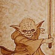 Master Yoda Jedi Fight Beer Painting Poster