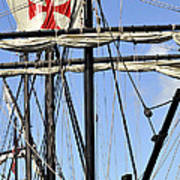 Masts And Rigging On A Replica Of The Christopher Columbus Ship  Poster
