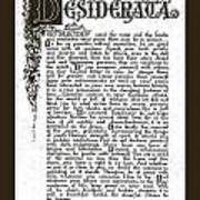 Matted Charcoal Florentine Desiderata Poster Poster