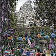 Matterhorn Mountain With Tea Cups At Disneyland Poster