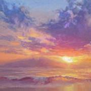 Coastal Hawaiian Beach Sunset Landscape And Ocean Seascape Poster