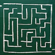Maze On A Chalkboard Poster