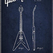 Mccarty Gibson Electric Guitar Patent Drawing From 1958 - Navy Blue Poster
