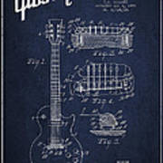 Mccarty Gibson Les Paul Guitar Patent Drawing From 1955 - Navy Blue Poster