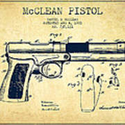 Mcclean Pistol Drawing From 1903 - Vintage Poster
