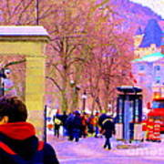 Mcgill Campus Eager Students Enter Roddick Gates Montreal Collectible Art Prints Carole Spandau  Poster