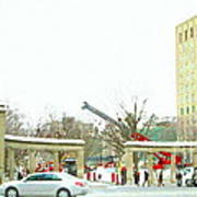 Mcgill Campus Student Cycles By Roddick Gates Sherbrooke St Montreal Winter Scene Carole Spandau  Poster