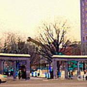 Mcgill University The Night Shift Arrives Sherbrooke Downtown Montreal Scenes Carole Spandau  Poster