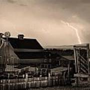 Mcintosh Farm Lightning Sepia Thunderstorm Poster by James BO  Insogna