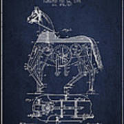 Mechanical Horse Patent Drawing From 1893 - Navy Blue Poster by Aged Pixel