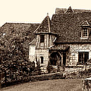 Medieval Cottage In Sarlat Sepia Poster