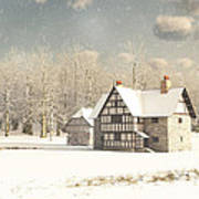 Medieval Farmhouse In Winter Snow Poster