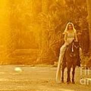 Medieval Woman On Horseback Poster
