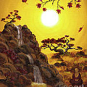 Meditating By A Golden Waterfall Poster
