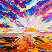 Meeting The Sun Abstract Landscape Poster