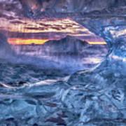 Melting Blue Crystal Poster