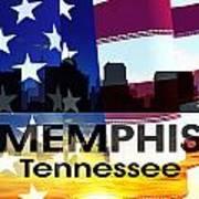 Memphis Tn Patriotic Large Cityscape Poster