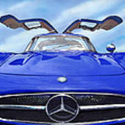 Mercedes Gullwing In Blue Poster