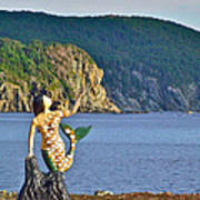 Mermaid On A Dock In Twillingate Harbour-nl Poster
