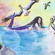 Mermaid Pelicans Surf Beach Cathy Peek Art Poster