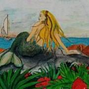 Mermaid Sailboat Flowers Cathy Peek Fantasy Art Poster