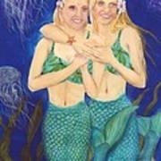 Mermaid Sisters Jelly Fish Cathy Peek Art Poster
