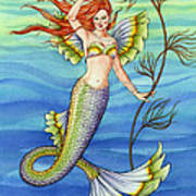 Mermaid With Red Hair Poster