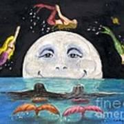 Mermaids Jumping Over Moon Cathy Peek Poster