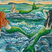 Mermaids On The Rocks Poster