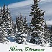 Merry Christmas - Winter Trees And Rising Clouds Poster