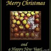 Merry Christmas And A Happy New Year - Little Gold Pears And Leaf - Holiday And Christmas Card Poster