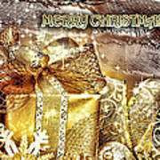 Merry Christmas Gold Poster by Mo T