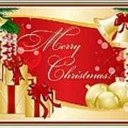 Merry Christmas Greeting With Gifts Bows And Ornaments Poster