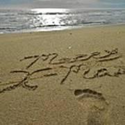Merry Christmas Sand Art Footprint 4 12/25 Poster
