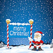 Merry Christmas Sign Santa Claus Winter Landscape Poster