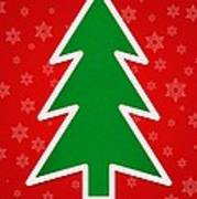 Merry Christmas Tree With Snowflake Background  Poster