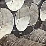 Metal Barrels 1bw Poster