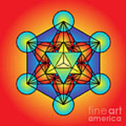 Metatron's Cube With Merkaba Poster